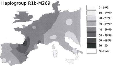 Map of haplogroup R1b-M269 in West-Europe and in the Mediterranean basin